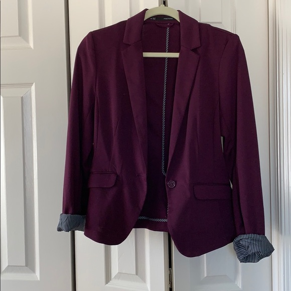 Maurices Jackets & Blazers - {Maurices} Plum Blazer with Stripe Accents